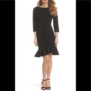 Vince Camuto Black Crepe Ruffle Hem LBD Dress 8/M